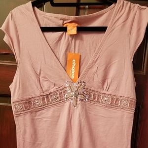 Calvin Klein peachy-pink sequined top